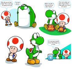 Hey, it's Yoshi and Toad by Nintendrawer.deviantart.com on @deviantART