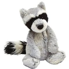 """Woodland Raccoon 12"""" by Jellycat. Dalton had a raccoon that was like his security blanket and I want Baby R to have one too. :)"""