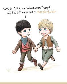 "lulu-chocobo: "" #Merlin #Merthur cute Merlin and turnip-head Arthur ^o^ """
