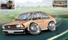 Caricaturas digitais, desenhos animados, ilustração, caricatura realista: Ilustração de carro caricaturado  (Passat) !!