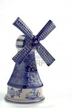 Vintage Blue Delft Porcelain Windmill