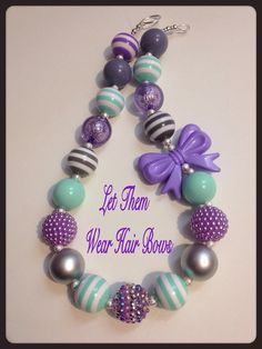 Mint, Purple, and Gray Chunky Bead Necklace for Little Girls, Toddlers, Infant Photo Prop, Teen Trendy Gift, Gumball Beads, Bow Bead on Etsy, $13.49