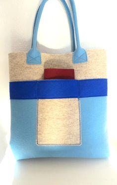 Handmade Bag Felt Tote Blue and Beige Felt Shopper by WeltinFelt