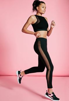 Active Mesh Insert Full Length Leggings Black