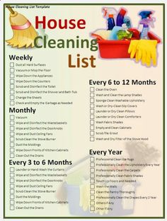 House Cleaning List.  Shop at www.janitorialsupplies.com for all types of cleaners, janitorial supplies and paper products.