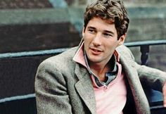 Richard Gere in a salmon shirt and tweed jacket