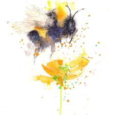 JEN BUCKLEY ART signed PRINT of my original BUMBLE BEE watercolour in Art, Prints, Contemporary (1980-Now) | eBay