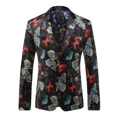 Europe and the United States men's wear in autumn 2016 The new winter Long sleeve printed color butterfly velvet jackets