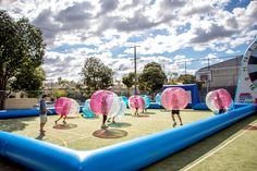 Bubble Soccer at a Primary School in Mebourne's Inner Suburbs for the School Holidays.  #BubbleSoccer #BubbleFootball #BubbleBall #Melbourne