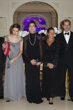 (L-R) Charlotte Casiraghi, Princess Caroline of Hanover, Princess Stephanie of Monaco and Andrea Casiraghi arrives at the AMADE MONDIALE association Gala Dinner at Hotel Hermitage on 04.10.13 in Monaco
