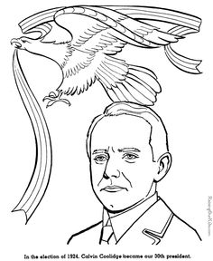Calvin Coolidge coloring pages - American history for kid