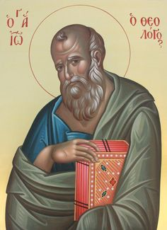 The Holy Apostle and Beloved Disciple John the Theologian. Byzantine Icons, Byzantine Art, St John The Evangelist, Paint Icon, Russian Icons, Orthodox Icons, Christian Art, Jesus Christ, Book Art