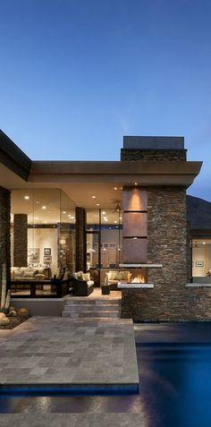 Decoist - interior design and architecture Modern desert house in Arizona Contemporary Architecture, Amazing Architecture, Architecture Design, Contemporary Homes, Installation Architecture, Contemporary Chandelier, Contemporary Bedroom, Desert Homes, House Goals