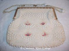 Vintage Purse White Plastic Beads Pink Rosebuds Faux Mother of Pearl Hong Kong | eBay