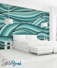 Wall Mural Decal Sticker Arco Ocean Green Color MCrespo118 | stickerbrand - Housewares on ArtFire
