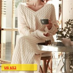 Autumn/Winter Sexy Large V neck Long Knit Pullover Sweater Dresses Loose Cozy Vestidos Casual Daily Long Sleeve Robe TT3005
