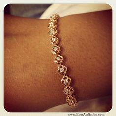 Rose Gold Flower CZ Tennis Bracelet