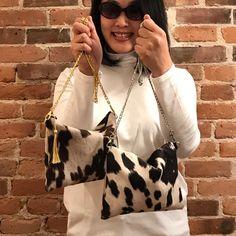 Cowhide Shoulder purses with detachable metal chain strap Cowhide Fabric, Cowhide Purse, Cowhide Leather, Shoulder Purse, Metal Chain, Cows, Mother Day Gifts, Clutch Bag, Louis Vuitton