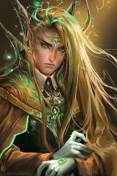 Beautiful elven male with such beautiful golden hair. This would be a great Glorfindel.