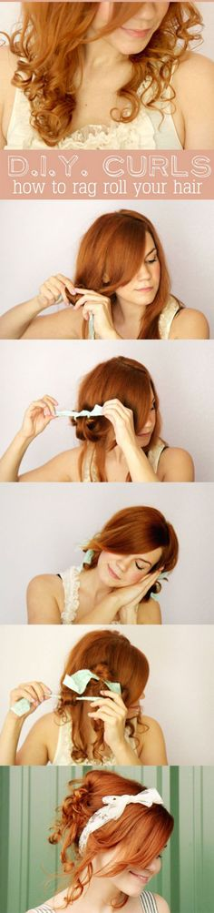 DIY Curls: How to Rag Roll Your Hair. I wonder if this would work on my hair? Curled Hairstyles, Diy Hairstyles, Pretty Hairstyles, Hairstyle Tutorials, Holiday Hairstyles, Easy Hairstyle, Style Hairstyle, Amazing Hairstyles, Hairstyle Ideas