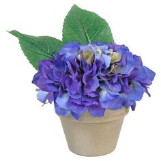 Faux blue hydrangea in a nickel-painted pot.  Product: Faux floral arrangementConstruction Material: Polyester, ...