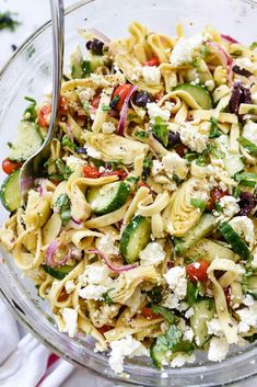 Healthy Recipes : Illustration Description This Greek pasta salad will be your summertime favorite with feta cheese and a zesty dressing that tops crunchy cucumbers, red peppers and artichoke hearts. Greek Feta Salad, Cucumber Pasta Salad, Vegetarian Pasta Salad, Pasta Salad Recipes, Vegetarian Recipes, Healthy Recipes, Pasta Salad With Feta, Spinach Salads, Crab Salad