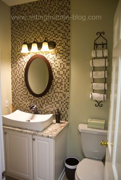 glass tile back splash. I think this would look awesome in my new bathroom!...lol... Maybe do it in the guest bath whenever that gets re-done