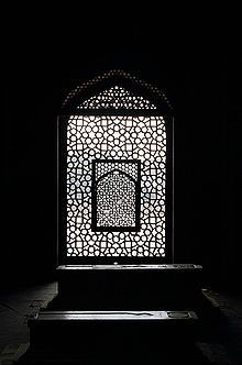 The symbolically cut out mihrab facing west or Mecca, over the marble lattice jali screen,Humayun's Tomb, delhi