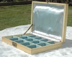 For your sparkly treasures!  Beautiful Vintage Jewelry Box, Blue Velvet and Satin by CalliopeStudio. SOLD!