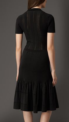 Burberry London Black Pleat Detail Cotton Blend Dress - A cotton blend dress featuring defined pleats at the neckline.  Openstitch detailing and block panels enhance the semi-sheer top.  Discover the women's dress collection at Burberry.com