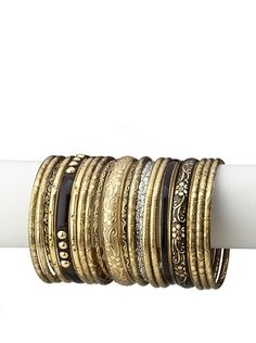 """Chamak by Priya Jewelry    Bangles, Silver/Gold  Assorted stamped designs, shades of silver/gold, set of 21, dimensions may vary  Dimensions: length 8"""", width 3.75""""  Metal type: Brass and iron  Country of origin: India"""