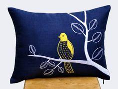 Bird on Branch Lumbar Pillow Cover, Decorative Pillow Cover, Navy Blue Linen Pillow, Yellow Bird, Embroidered, Navy Pillow Accent, Cushion