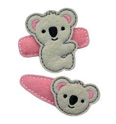 Koala Bear Felt Stitchies in the hoop Little Girl Crafts, Koala Craft, Australia Crafts, Felt Animal Patterns, Bear Felt, Barrettes, Hairbows, Felt Hair Clips, Thinking Day