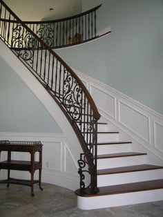 Metal with Wood Staircase -- Love the railing design