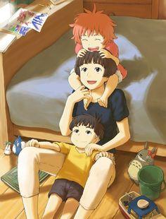 Lisa,Sosuke,Ponyo - Ponyo on the Cliff by the Sea,Studio Ghibli