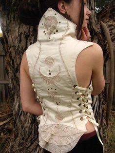 mage corset   white leather corset with side laces and embroidered back