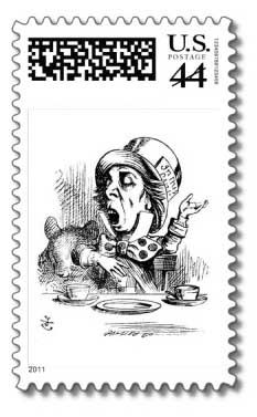 If you want to add some extra embellishment to your Alice in Wonderland party invitations to make them even more special, use themed postage stamps such as the ones below