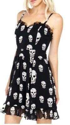 Hot Topic Punk Goth Royal Bones Tripp Black White Toxic Skulls Bones Sundress S
