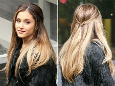 Ariana Grande lets her high ponytail down with pinned-back hairstyle.