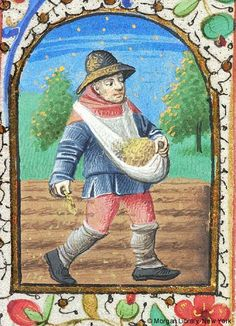 Book of Hours, MS G.1 I fol. 10r - Month, Occupation: October -- Man wearing hat, walking in plowed field, sowing seed with right hand, holding seed in sling with left hand.