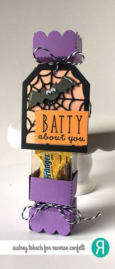 DIY Halloween treat box by Audrey Tokach. Reverse Confetti stamp set: Treat Yo' Self. Confetti Cuts: Web Tag Layer, Halloween Bits and Treat Tube Topper. Halloween party favor.
