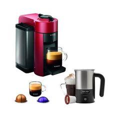 Nespresso Vertuoline Evolu Espresso Maker/Coffee Maker Cherry Red w/ Aroma Milk Frother