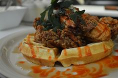 Chicken & Waffles can be ordered at BaseCamp!