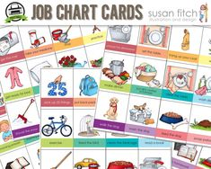 Printable Job Chart Chore Chart Cards