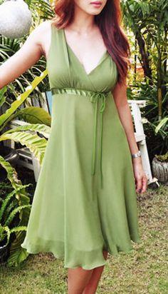 Green Sleeveless Dress Sale Day Evening