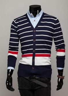Men's Striped Cardigan