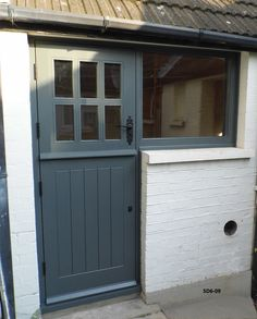 Stable Doors with 6 Panes made from Oak and Painted Cottage Hallway, Cottage Front Doors, Grey Front Doors, Cottage Porch, Front Doors With Windows, Small Doors, Back Doors, Grey Windows, Carriage Garage Doors