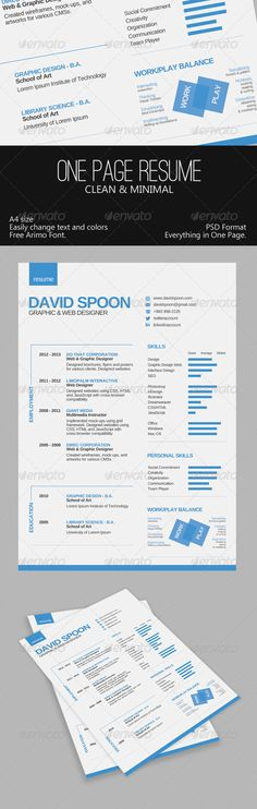 Resume Template For Graphic Designer 20 Free Cv Resume Templates - single page resume format download
