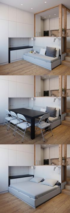 Espacios pequeños http://www.home-designing.com/4-small-apartment-designs-under-50-square-meters