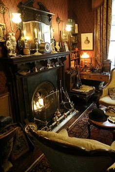 actually, this isn't just ANY Victorian parlor, it's the interior of the Sherlock Holmes museum. The post Victorian parlor…. Victorian Rooms, Victorian Parlor, Victorian Interiors, Victorian Decor, Victorian Gothic, Victorian House, Sherlock Holmes, 221b Baker Street, Gothic House